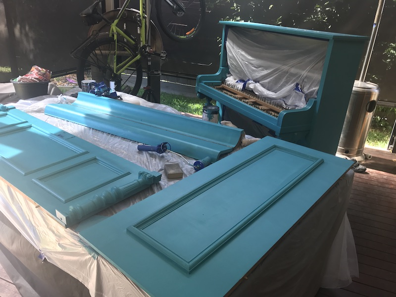 Painting the piano teal