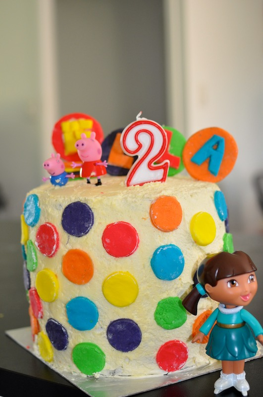 Rainbow dot cake