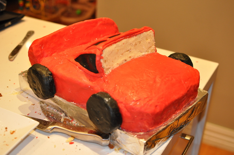 Fondant on the cars birthday cake