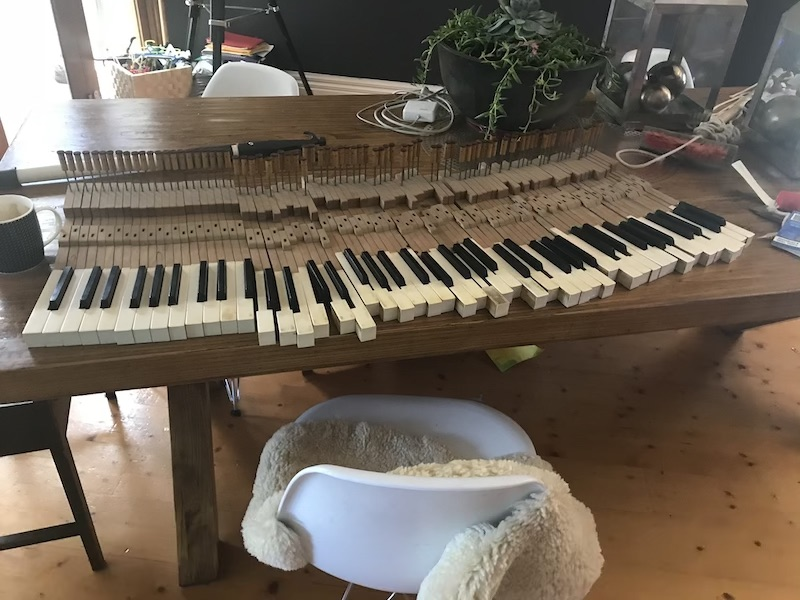 Keys of the piano layed out