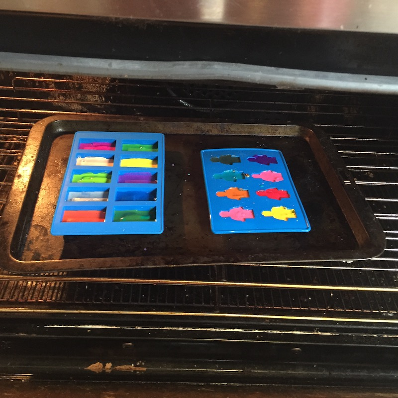 Lego crayons in the oven